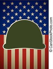 cubierta, bandera de los e.e.u.u, casco
