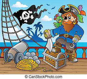 cubierta, barco, 2, tema, pirata