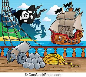 cubierta, barco, tema, 4, pirata