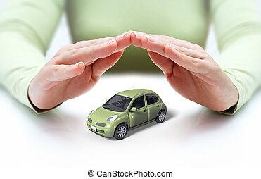 cubierta, coche, -, seguridad, manos, su