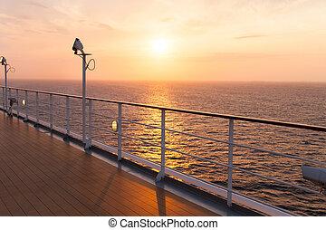 cubierta, de, un, vaya barco, en, salida del sol