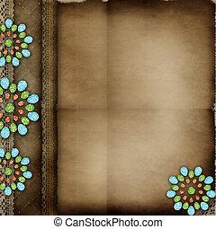 cubierta del álbum, con, encaje, y, joyas, elementos