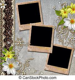 cubierta del álbum, con, flores, encaje