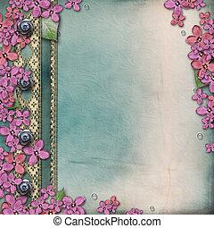 cubierta del álbum, con, lila, y, hechaa mano, encaje