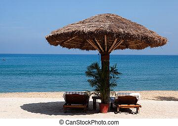 cubierta, hotel, india, kerala, recurso, estado, mar, silla