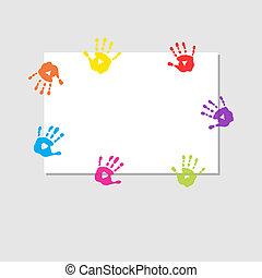 cubierta, impresiones, manos, hoja, niños