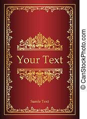 cubierta, libro, -, plano de fondo, vendimia