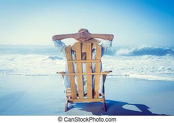cubierta, relajante, silla, mujer