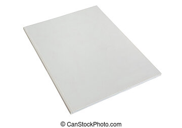 cubierta, revista, blanco, folleto, blanco, o
