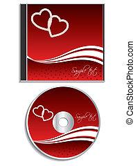 cubierta, valentine, diseño, día, cd
