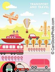 cubierta, viaje, revista, vector, plantilla, transporte