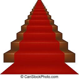 cubierto, escaleras, alfombra roja