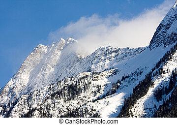 cubierto, nieve, montañas