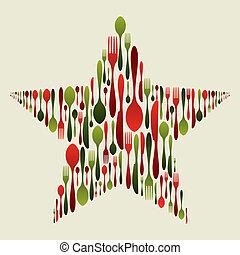 cubiertos, conjunto, en, navidad, estrella