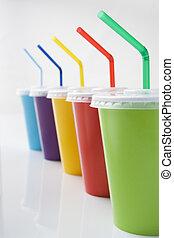 cubiletes, bebida, coloreado, pajas, suave, fila