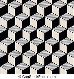 cubique, géométrie, vendange, image, pattern., seamless, ...
