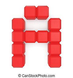 cubique, lettre, rouges
