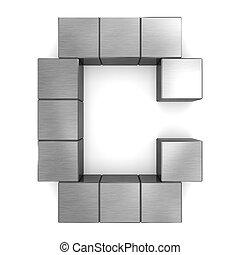 cubique, métal, c, lettre