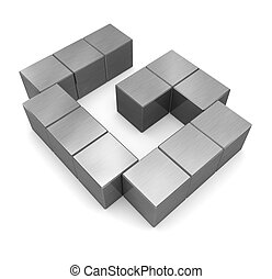 cubique, métal, g, lettre