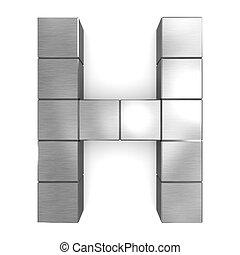 cubique, métal, h, lettre