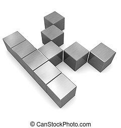 cubique, métal, k lettre