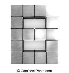 cubique, métal, lettre b