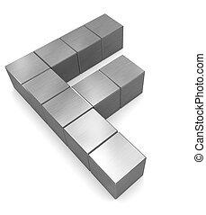 cubique, métal, lettre f