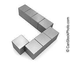 cubique, métal, lettre, j
