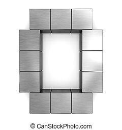 cubique, métal, lettre, o