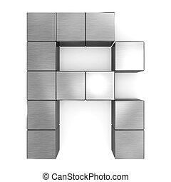 cubique, métal, lettre, r