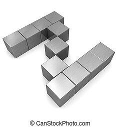 cubique, métal, lettre, z
