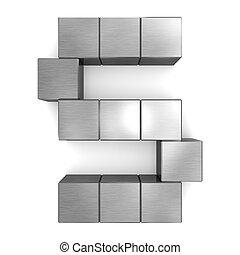 cubique, métal, s, lettre