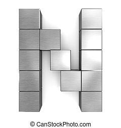cubique, n, métal, lettre