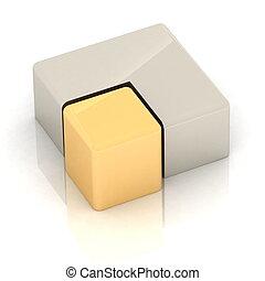 cubique, tridimensionnel, tarte