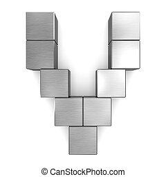 cubique, v, métal, lettre