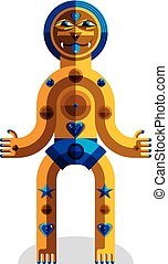 Cubism theme vector graphic illustration, modernistic symbol. Geometric cartoon character, mythic creature or shaman. Colorful drawing of pagan idol.