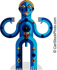 Cubism theme vector graphic illustration, modernistic symbol. Geometric cartoon character, mythic creature or shaman.