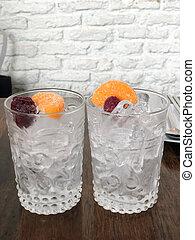 cubitos de hielo, en, vidrio