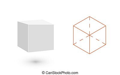 cubo, é, um, geomã©´ricas, figure., hipster, moda,...
