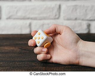 Cubo, énfasis, juguete,  fidget, dedos