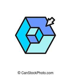 cubo, 3, modelado, color, plano, modelo, dimensional, línea...