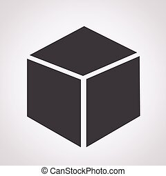cubo, 3d, icona