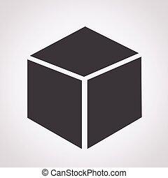 cubo, 3d, icono