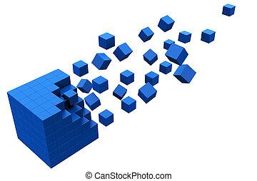 cubo, 3d, movimento