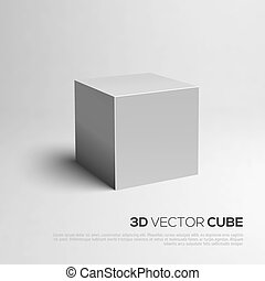 cubo, 3d., vector, ilustración, para, su, design.