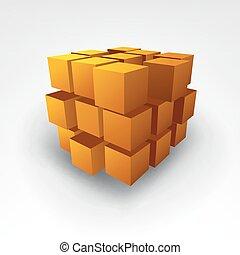 cubo, abstratos, vetorial, ouro, ilustração