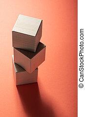 cubo, accatastato, legno, forme, cima, tre, fondo., geometrico, rosso, vista