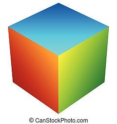 cubo, apilado, colorido, genérico, moderno, /, brillante,...