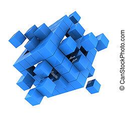 cubo, azul