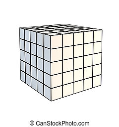 cubo blanco, faceted, 3d